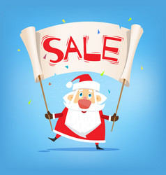 christmas sale santa claus with placard sale vector image vector image