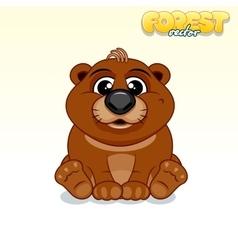 Cute cartoon brown bear funny animal vector