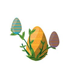 easter yellow egg branch plant shadow vector image