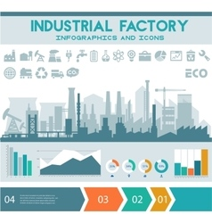 Flat industrial factory inforgraphics template vector
