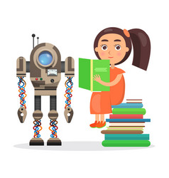 Girl sits on pile of books and reads beside robot vector
