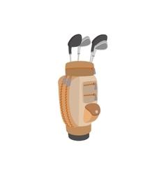 Golf clubs in a brown bag cartoon icon vector