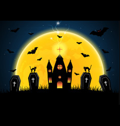 halloween coffin graveyard castle moon bat vector image vector image