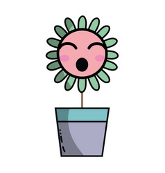 Kawaii beauty and funny flower plant vector