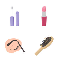 Mascara hairbrush lipstick eyebrow pencil vector