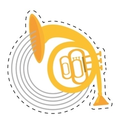 musical instrument french horn icon dotted line vector image