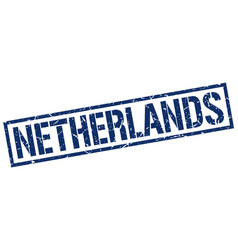 Netherlands blue square stamp vector
