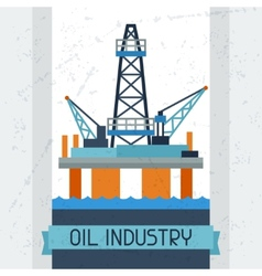 Oil platform in sea background vector image vector image