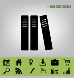 Row of binders office folders icon black vector