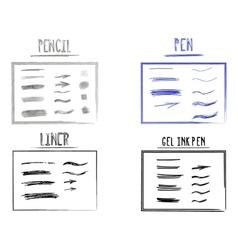 Set of Hand Drawn Doodle Sketchy Grunge Gel Ink vector image vector image
