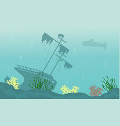 Silhouette of ship and submarine on ocean vector