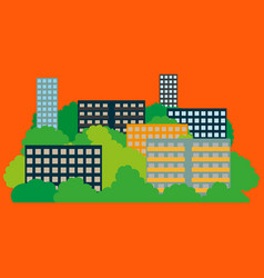 smart city with contemporary buildings networks vector image