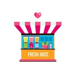 street food fresh organic juices shop vector image