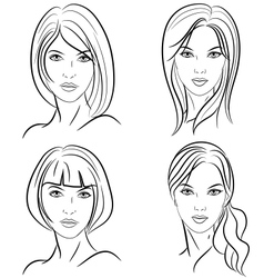 stylized woman hairstyle vector image vector image