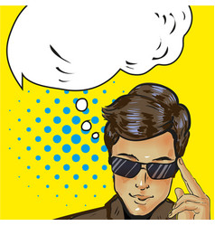 thinking cool businessman in sunglasses was up to vector image vector image