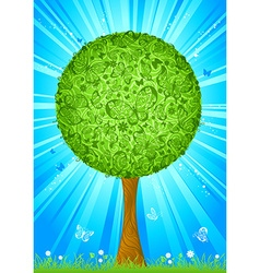 Tree with butterflies instead of leaves vector image