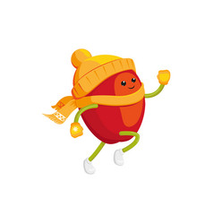 Winter fruit apple in hat mittens running vector