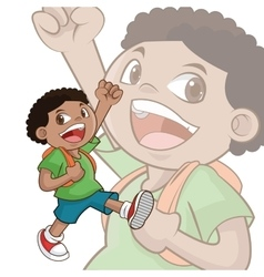 Boy kid cartoon school design vector