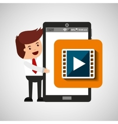 character with mobile app movie video vector image