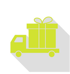 Delivery gift sign pear icon with flat style vector
