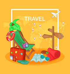 Travel concept route cartoon style vector