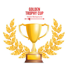 Golden trophy cup with laurel wreath award design vector