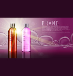 3d realistic cosmetic product shampoo bottle vector
