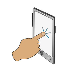 Color image cartoon finger touching a tablet vector