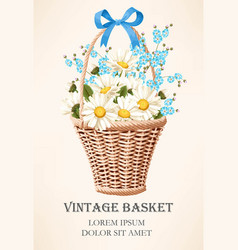 Vintage basket with flowers vector