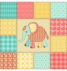 Elephant patchwork pattern vector