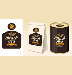 Banner label paper package and tin of black tea vector
