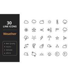 30 weather line icons vector image