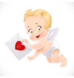 Cute little cupid flies with a love letter vector