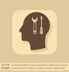 Icon head think silhoutte man and his mind about s vector