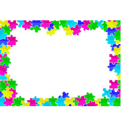 Frame from scattered colored flat puzzles toys vector