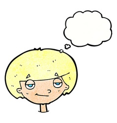 Cartoon smug looking boy with thought bubble vector