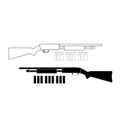Shotgun with bullets contour black vector