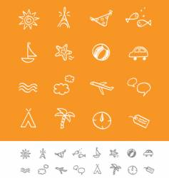 summer and travel iconset vector image