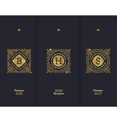 Premium design glitter gold monograms vector image