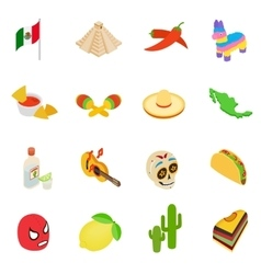 Mexico isometric 3d icons vector