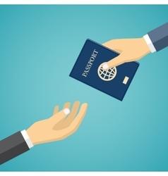 Businessman receiving passport vector