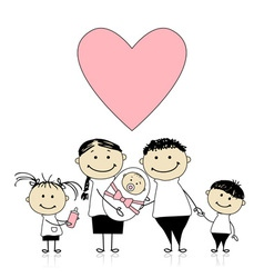 Happy parents with children newborn baby in hands vector