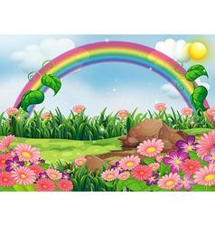 An enchanting garden with a rainbow vector