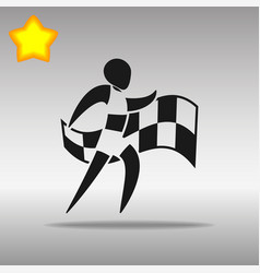 athletics with flag black icon button logo symbol vector image vector image