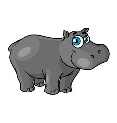 Cute cartoon baby hippo with blue eyes vector