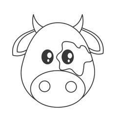 Cute cow cartoon icon vector