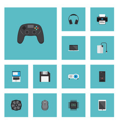 Flat icons printer cooler palmtop and other vector