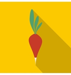 Fresh radish with leaves icon flat style vector