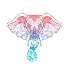 Head of elephant line art boho design of indian vector