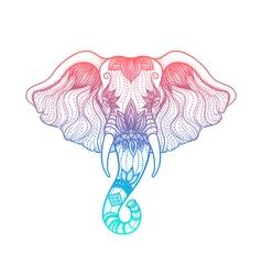 Head of elephant line art boho design of Indian vector image